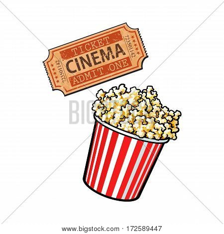 Cinema objects - popcorn bucket and retro style ticket, sketch vector illustration isolated on white background. Typical movie attributes like popcorn in red and white bucket and cinema ticket