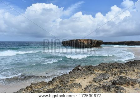 Large Moro rock formation off the coast off Boca Keto on the beach in Aruba.