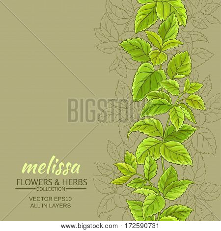 melissa leaves vector pattern on color background