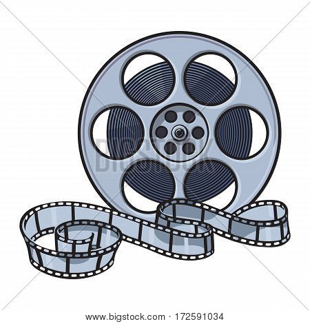 Classical motion picture, cinema film reel, sketch style vector illustration isolated on white background. Hand drawn film reel, cinema object, footage material