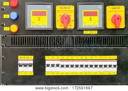 close up image of Technical control panel background