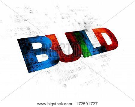 Building construction concept: Pixelated multicolor text Build on Digital background