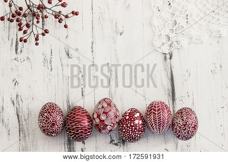 Decorated Easter Eggs Pysanka On Whitewashed Wooden Background