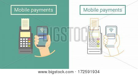 Mobile payment design concept with terminal and hand holding phone. Flat and linear symbol or icon design