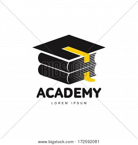 Graphic three colored square academic, graduation cap logo template, vector illustration isolated on white background. Stylized square graphic graduation cap logotype, logo design in three colors