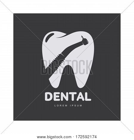 Graphic, black and white tooth, dental care logo template with drill silhouette over tooth shape, vector illustration isolated on black background. Tooth, dental care logotype, logo design