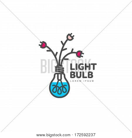 Light bulb logo template with three flowers formed by powers cables and electric plugs, vector illustration isolated on white background. Light bulb logotype, logo design with power cables as flowers