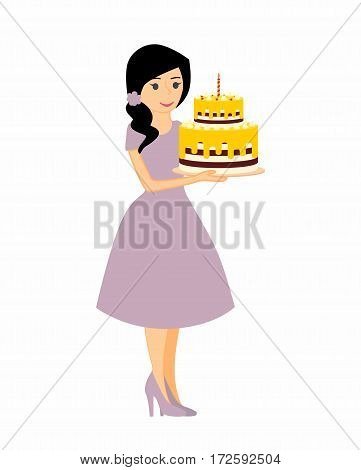 Female character with a cake. Beautiful housewife in purple dress, woman master baker holding a delicious pie. Vector illustration in a flat style