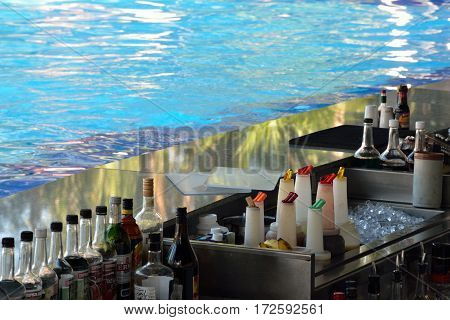 Playa del Carmen Mexico - January 30 2017: Rear view of Poolside bar ready to serve drinks