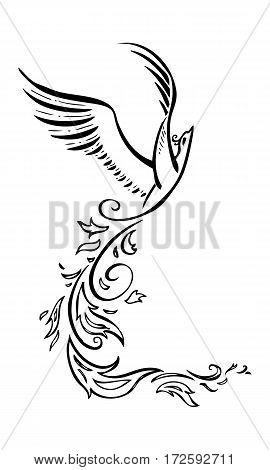Decorative phoenix flying bird. Vector graphic tattoo