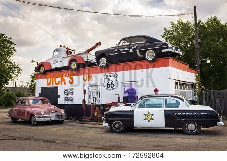 Joliet Illinois USA - July 5 2014: Dick's Towing roadside attraction in the US Route 66 in Joliet Illinois USA