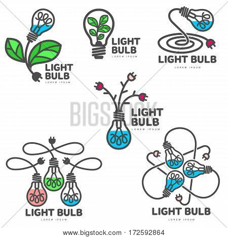 Set of creative colorful light bulb logo templates, growth, development concept, vector illustration isolated on white background. Stylized colorful light bulb logotype, logo design