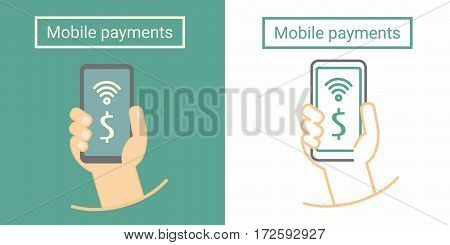 Mobile payment, hand holding phone. Flat and linear symbol or icon design
