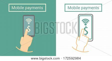 Mobile payment, hand push on phone screen. Flat and linear symbol or icon design