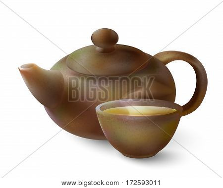 Vector 3d illustration of a tea in brown ware. Clay teapot and cup of hot tea on a white background
