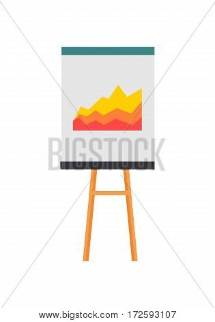 Projection screen with a graph icon. Flat design illustration of projection screen with a graph vector icon for web isolated on white background