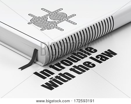 Law concept: closed book with Black Criminal icon and text In trouble With The law on floor, white background, 3D rendering