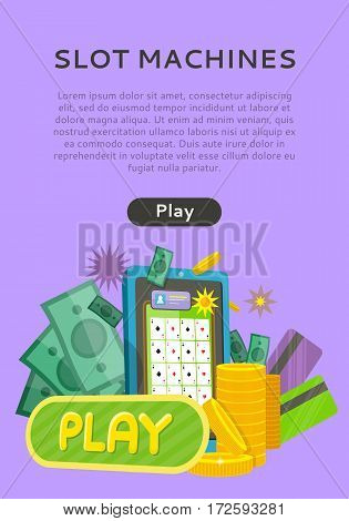 Slot machine web banner isolated on purple with play button. Money, coins, credit cards, telephone and stars. Casino jackpot, luck game, chance and gamble, lucky fortune. Vector illustration