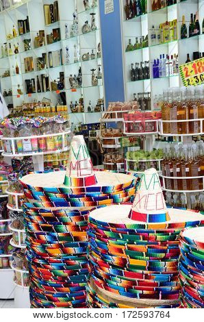 Playa del Carmen Mexico - January 23 2017: Mexican hats in Tourist shop
