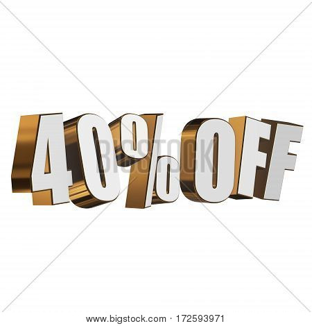 40 percent off letters on white background. 3d render isolated.