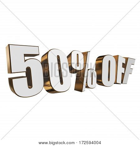 50 percent off letters on white background. 3d render isolated.