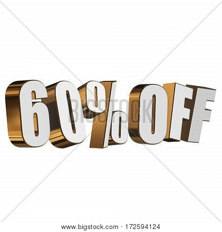 60 percent off letters on white background. 3d render isolated.