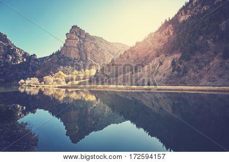 Glenwood Canyon River Reflection At Sunrise, Colorado, Usa.