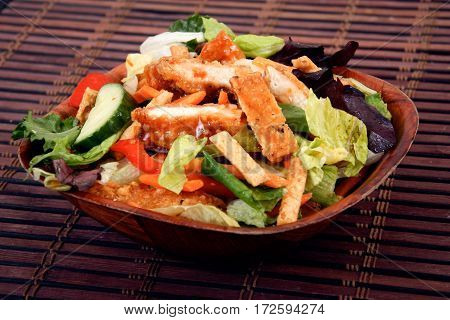 chicken thai salad with vegetable and sweet chili sauce