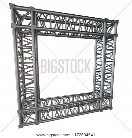 Steel truss girder rooftop frame construction. 3d render isolated on white