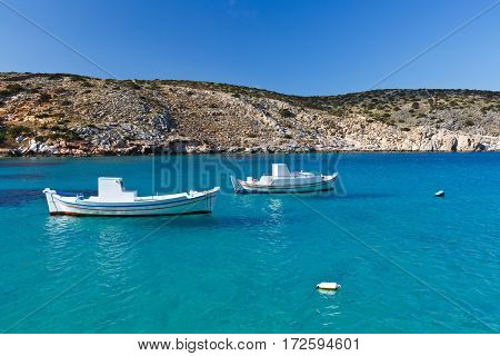 Fishing boats on Iraklia island in Lesser Cyclades, Greece.