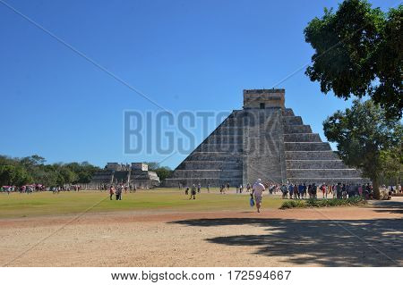 Chichen Itza Mexico - January 25 2017: Temple at Chicen Itza Mexico