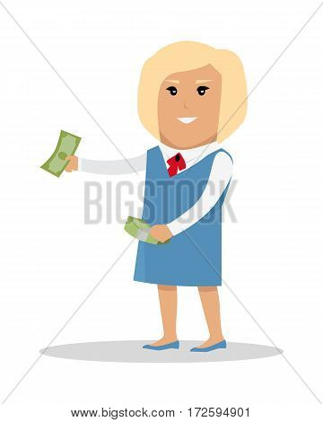 Female character with bundle of money vector. Flat style design. Blonde smiling woman in blue strict dress standing and holding dollar banknotes. investment, wages, income, credit, savings concept.