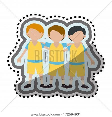 team players characters icon vector illustration design