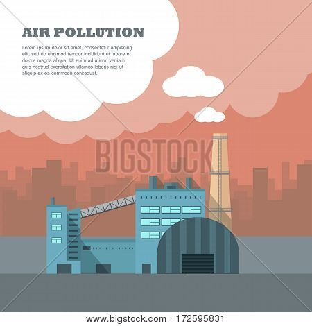Air pollution banner. Factory with smog pipes isolated on the background of urban city silhouette. Industrial concept. Cause of health problems, acid rains and greenhouse effect. Vector illustration