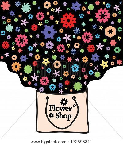 Abstract flowers in a kraft package. Flower shop. Vector design