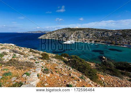 Harbor of Iraklia island in Lesser Cyclades, Greece.