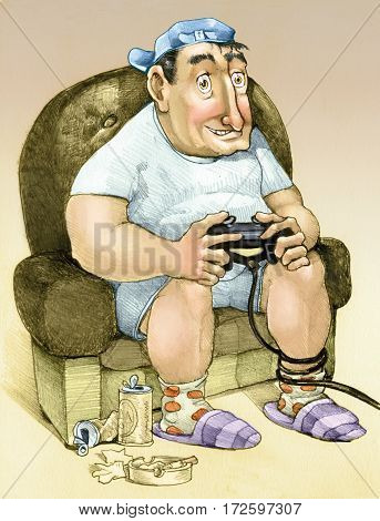 adult sitting in a chair playing video games like a teenager