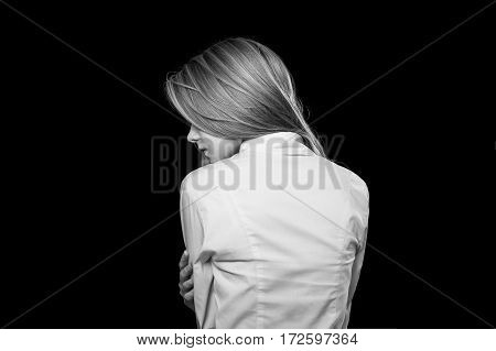 Office and business style. Lady modern casual. Goal oriented girl. Portrait on Black background