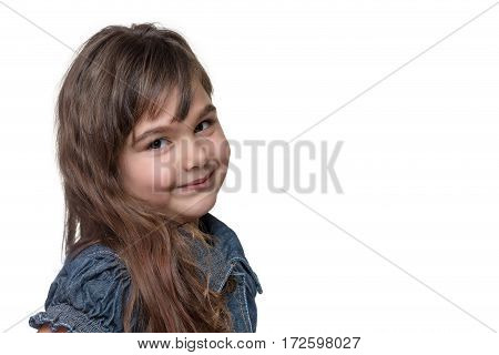 Portrait of long haired brunette little girl isolated on the white background. Free place for your text is in the right side of the photo.