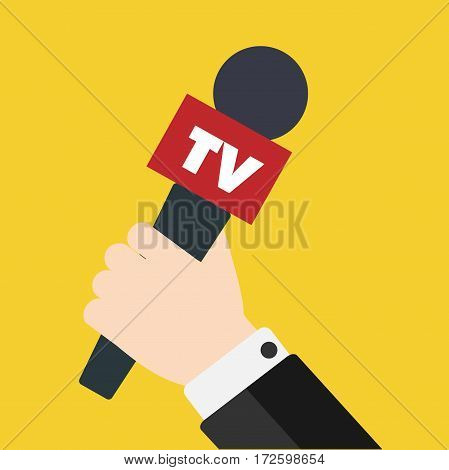 Journalist holding microphone. Journalism concept . Interview, news, reporter, press, isolated, interviewer, media, paparazzi. Vector Stock