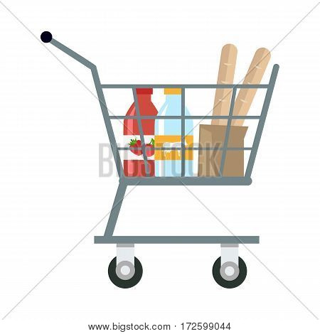 Shopping cart with different products in flat. Shopping cart with various groceries. Supermarket cart with milk, yogurt and bread. Side view. Isolated vector illustration on white background.