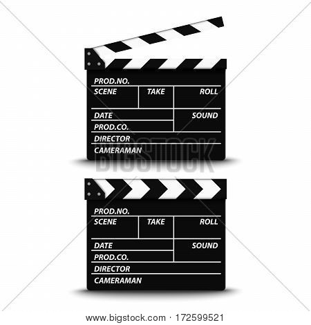 Open and closed film flap on white background vector eps 10