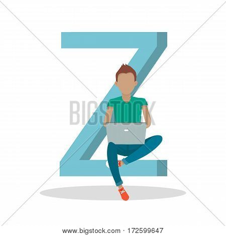 Gadget alphabet. Letter - Z. Man with laptop sitting on letter. Modern youth with electronic gadgets. Social media network connection. Simple colored letter and people with electronic devices