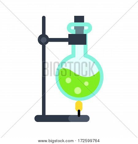 Chemical laboratory tools vector. Flat style. Lab flask with green liquid on fire. Chemical experiment and substance reactions. Illustration for scientific and educational concepts. Isolated on white