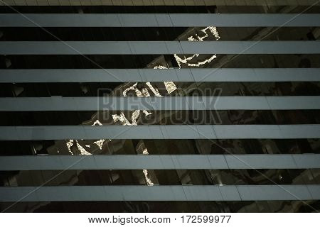 The abstract reflections of lights in a facade detail of a hotel on Las Vegas Boulevard.