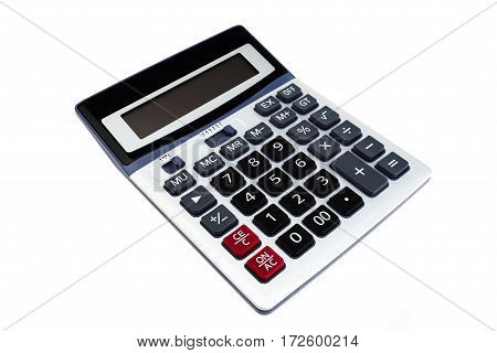 Calculator inclined and isolated on a white background