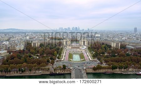 Paris aerial view of Champ de Mars or Field of Mars the large public greenspace in Paris, France