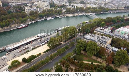 Paris aerial view of Seine river and bridges Alma and Debilly. Paris, France