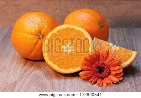 Orange slices and flower. Orange fruit citrus food