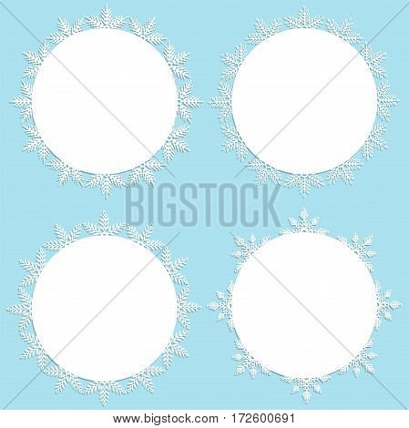 Collection of frames. White frames with snowflakes